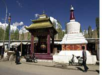The stupa and giant prayer wheel on the outskirts of the Leh bazaar are a focus for Tibetan Buddhists