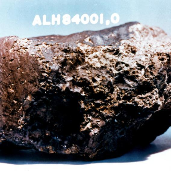 Meteorite Alh 84001 from Mars, originally found in Antartica, now at the Johnson Space Center, Houston, Texas.