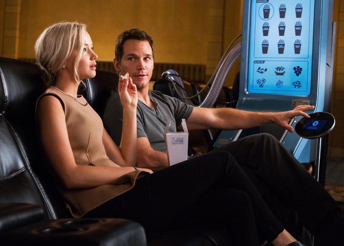 Chris Pratt and Jennifer Lawrence in Passengers.