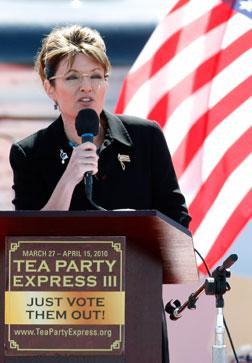 Sarah Palin at a Tea Party Express Rally.