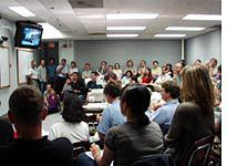 Standing-room only for the weekly CDF meeting