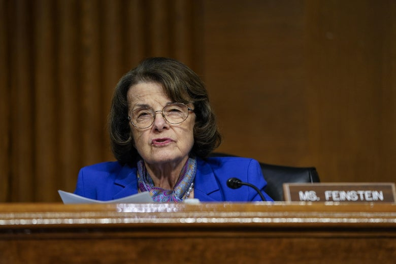 Sen. Dianne Feinstein (D-CA) questions witnesses during a Senate Intelligence Committee hearing on Capitol Hill on February 23, 2021 in Washington, D.C.