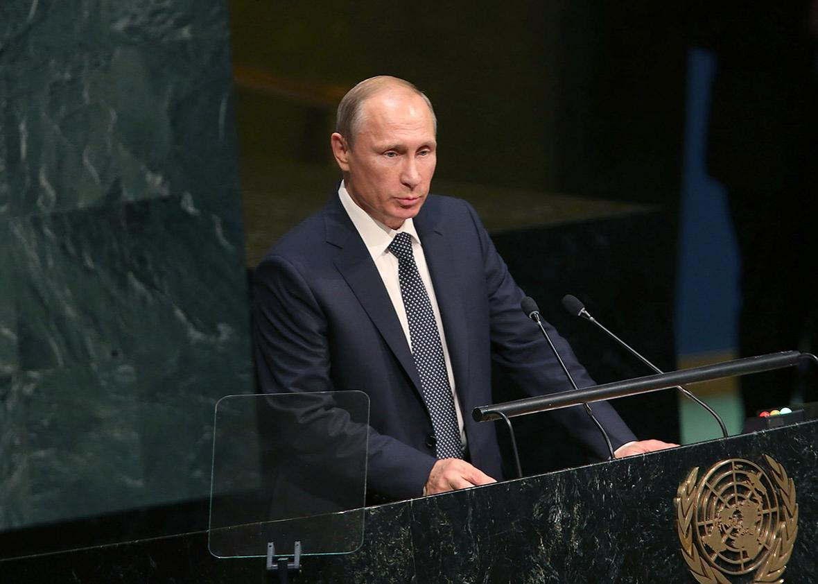 Russian President Vladimir Putin addresses the United Nations General Assembly at U.N. headquarters on September 28, 2015 in New York City.