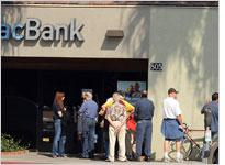 Customers queued at an IndyMac Bank branch in California. Click image to expand