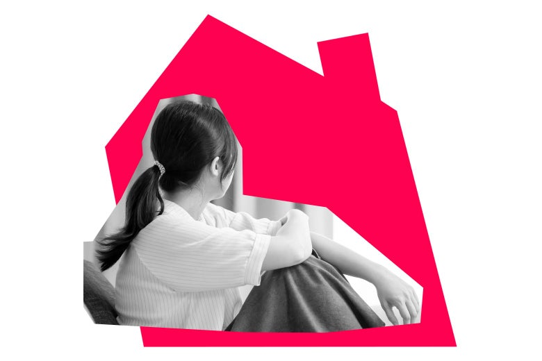 A woman is shown sitting, looking away. A graphic of a house is in the background.