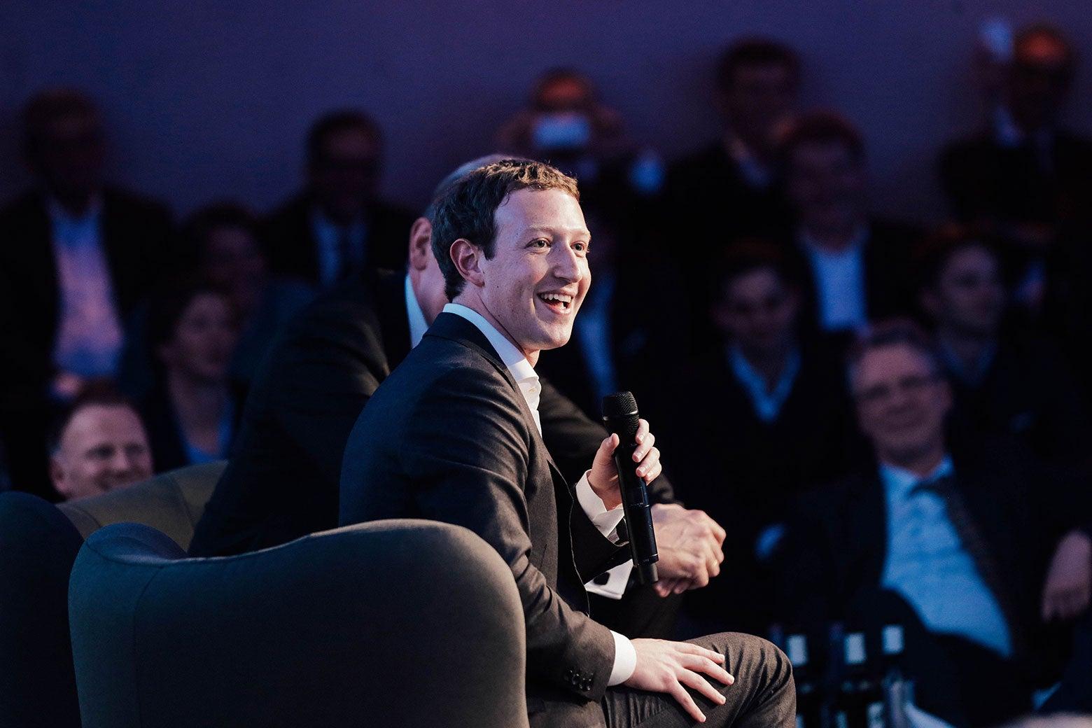 Mark Zuckerberg onstage.