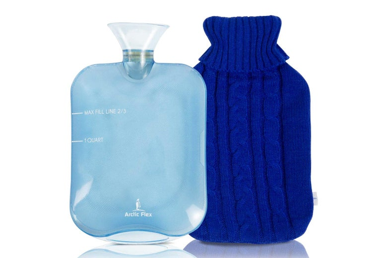 A blue hot water bottle.