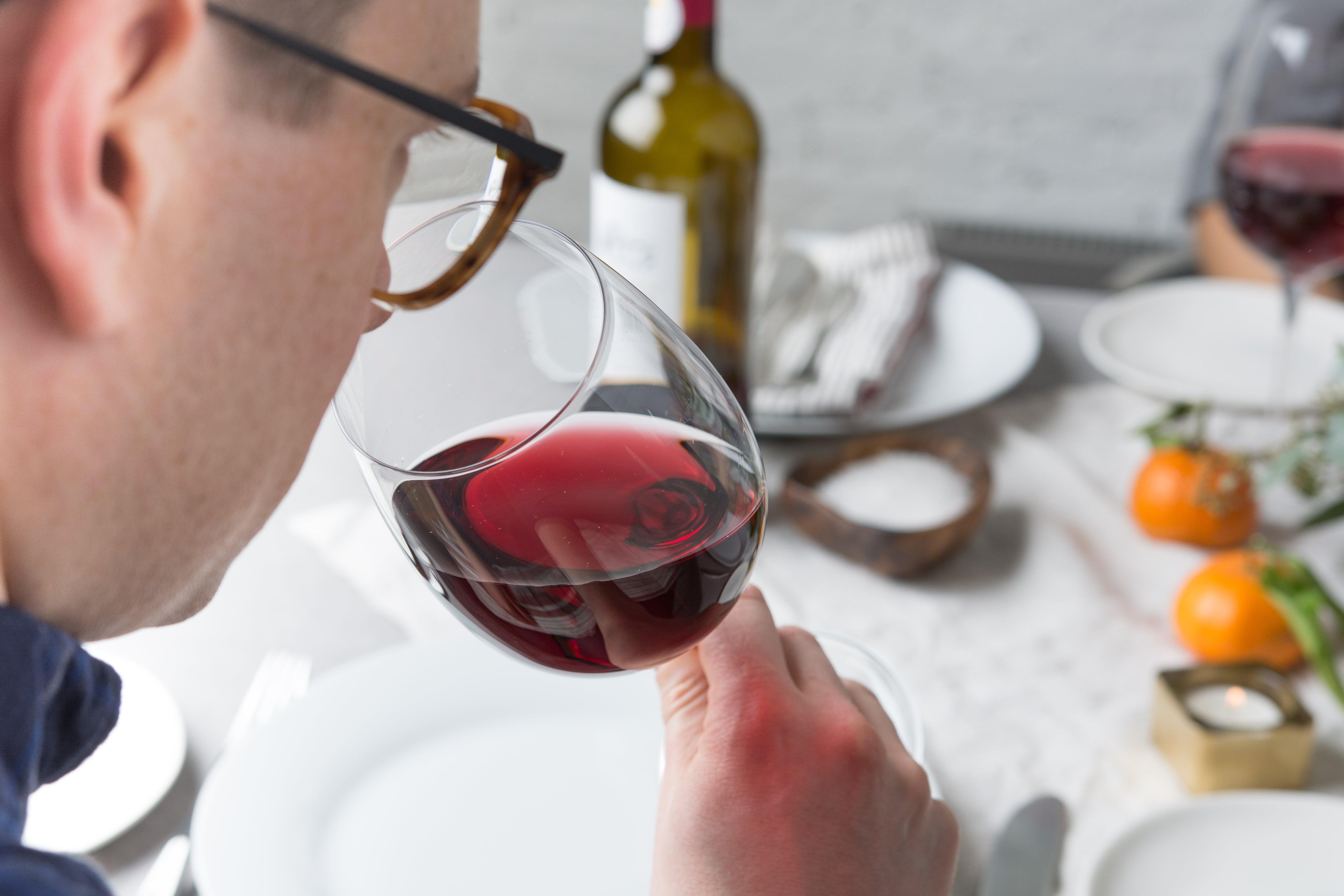 sniffing wine in a Libbey glass
