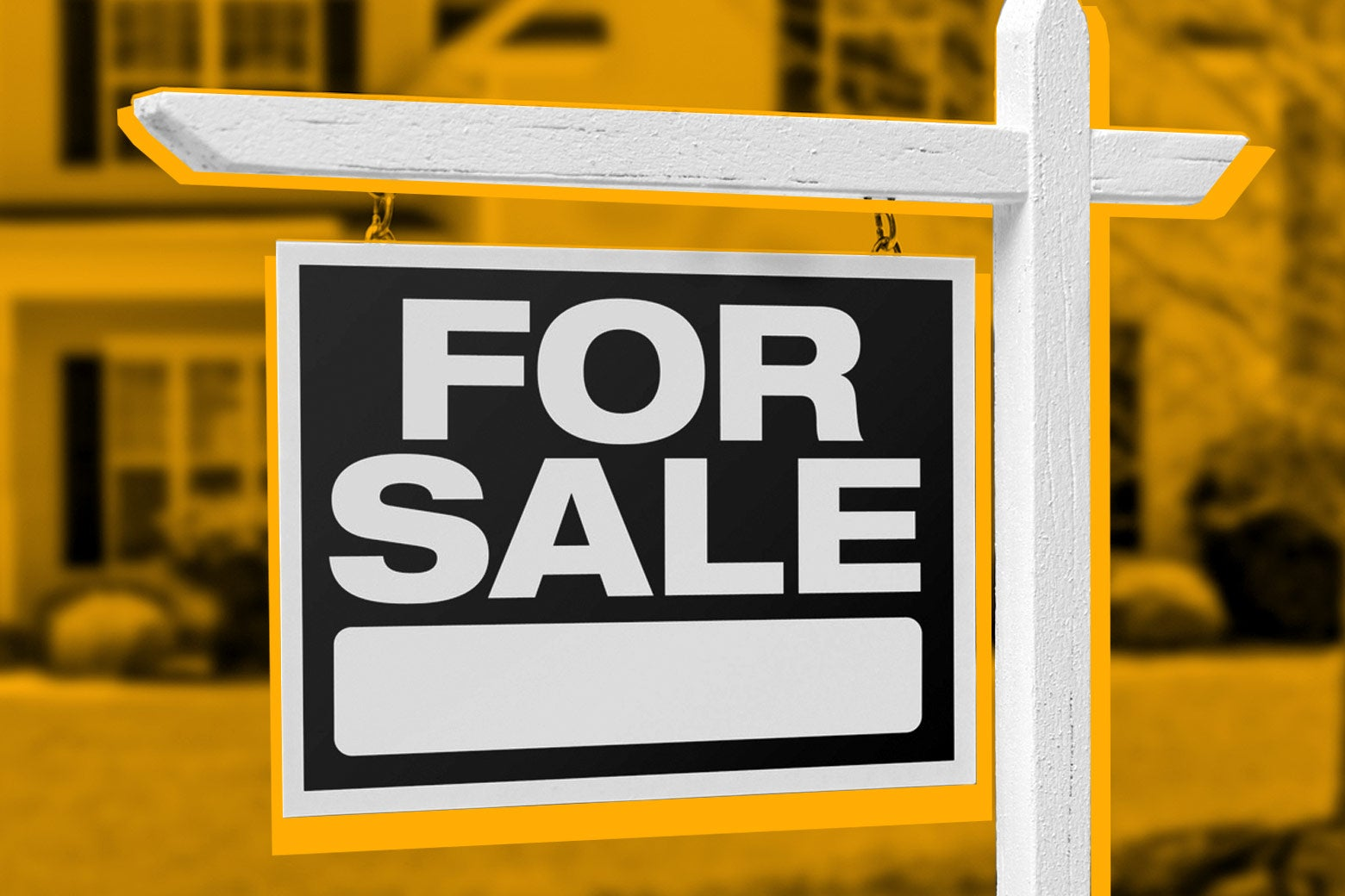 "A ""for sale"" sign in front of a house."