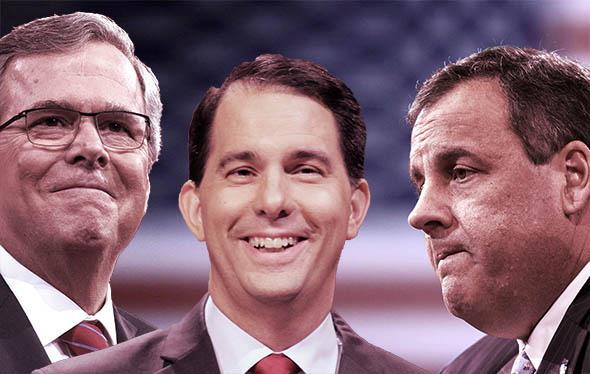 Former Florida Governor Jeb Bush, left, Governor Scott Walker (W,Former Florida Governor Jeb Bush, left, Governor Scott Walker (Wi-R), center, and New Jersey Governor Chris Christie.