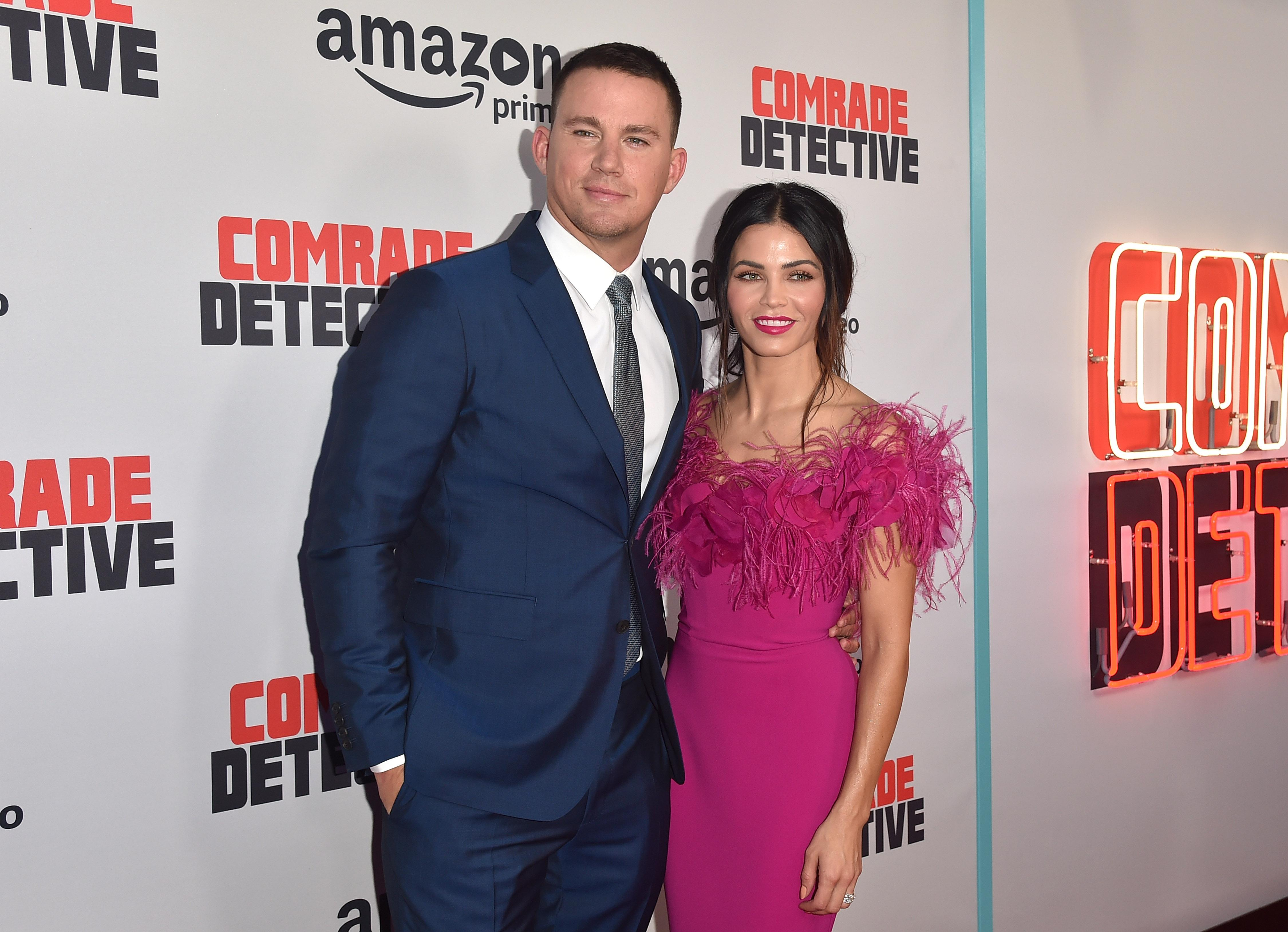 Channing Tatum and Jenna Dewan Tatum attend the premiere of Amazon's Comrade Detective in 2017.