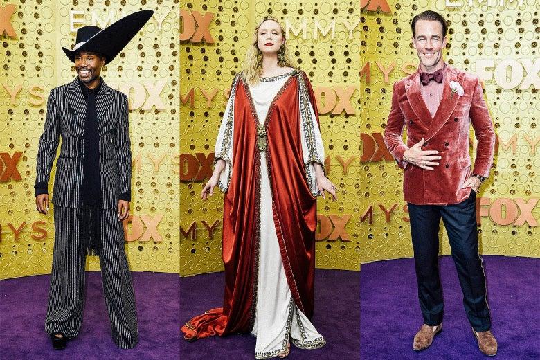 Billy Porter, Gwendoline Christie, and James Van Der Beek on the Emmys purple carpet.