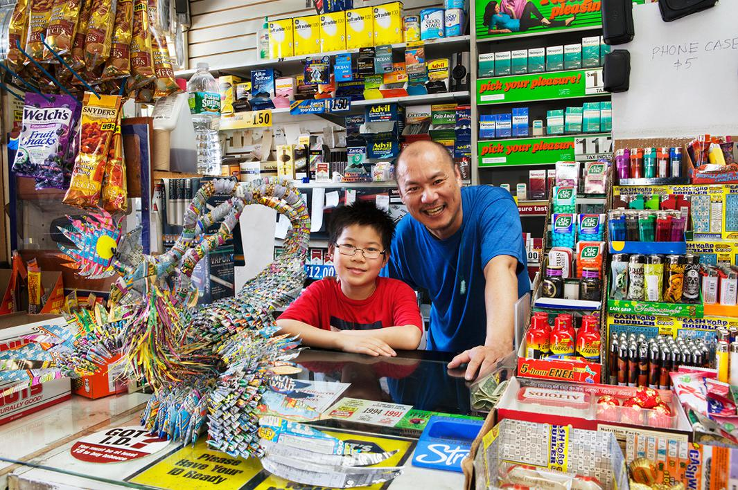Peter, S&R Market Sheepshead Bay, Brooklyn, New York. Peter makes origami sculptures with the discarded lottery tickets his customers leave behind.