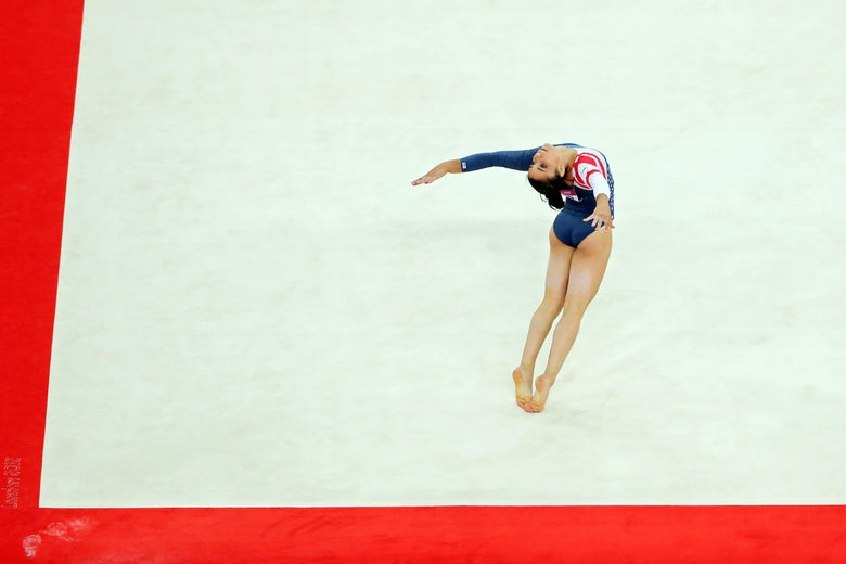 LONDON, ENGLAND - AUGUST 07:  Alexandra Raisman of the United States competes in the Artistic Gymnastics Women's Floor Exercise final on Day 11 of the London 2012 Olympic Games at North Greenwich Arena on August 7, 2012 in London, England.  (Photo by Scott Heavey/Getty Images)