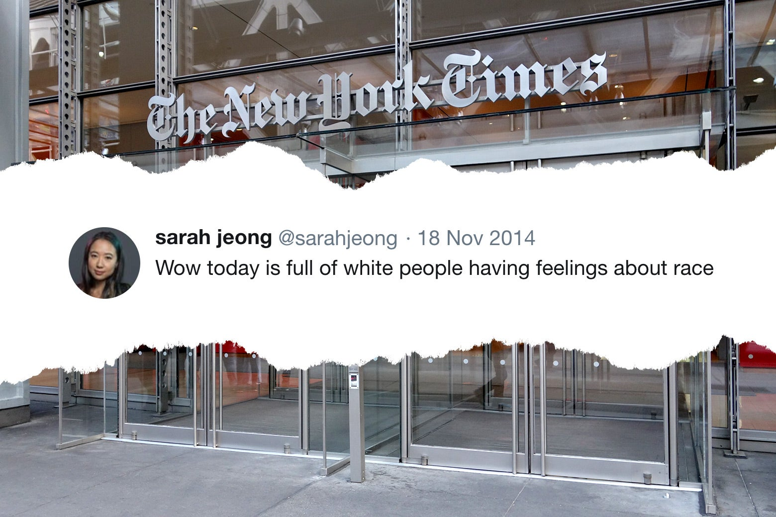 An old Sarah Jeong tweet and the New York Times building.