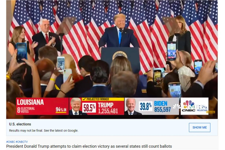"Screenshot from YouTube of a CNBC election broadcast, with a label under the video that says ""Results may not be final. See the latest on Google"""