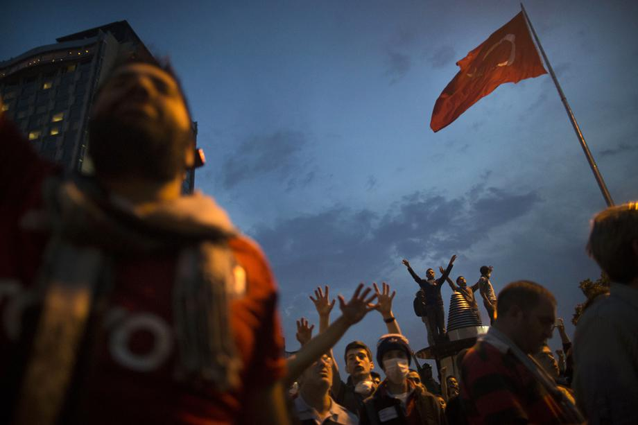 Protesters gather in Taksim Square on June 4, 2013 in Istanbul, Turkey.
