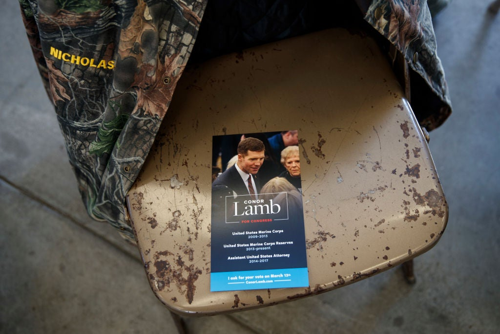 A campaign brochure for Democratic Pennsylvania congressional Conor Lamb as seen at a rally on Sunday.