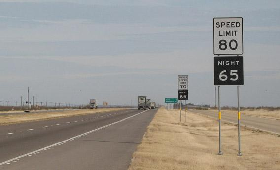 An 80 MPH speed sign in Texas.