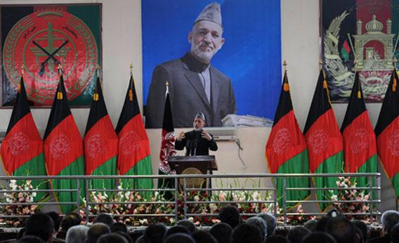 President of Afghanistan Hamid Karzai speaks during a graduation ceremony.