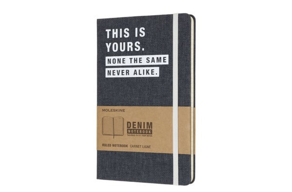 Moleskine Limited Collection Denim Notebook, Large, Ruled, Navy Blue.
