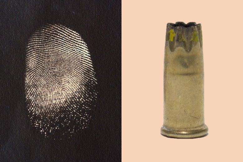 A fingerprint and a shell casing.
