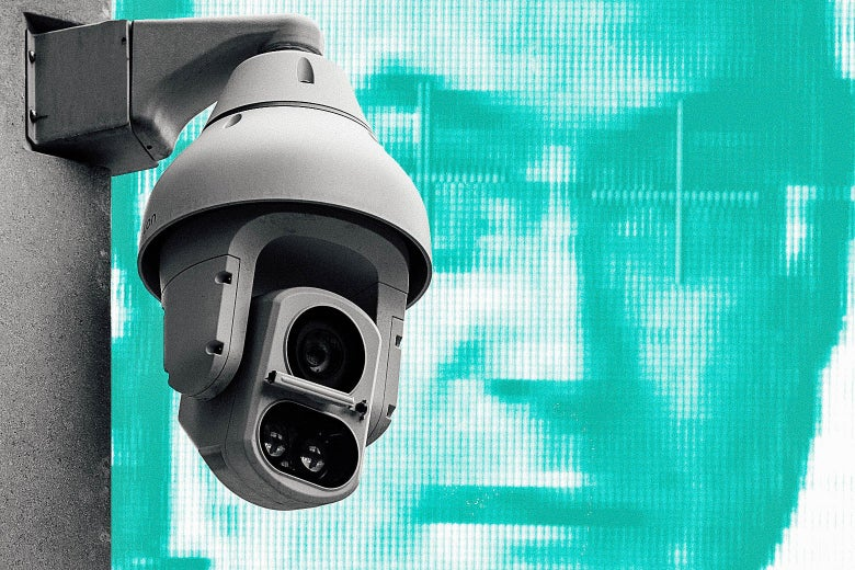 A surveillance camera set against a backdrop of facial recognition software midscan.