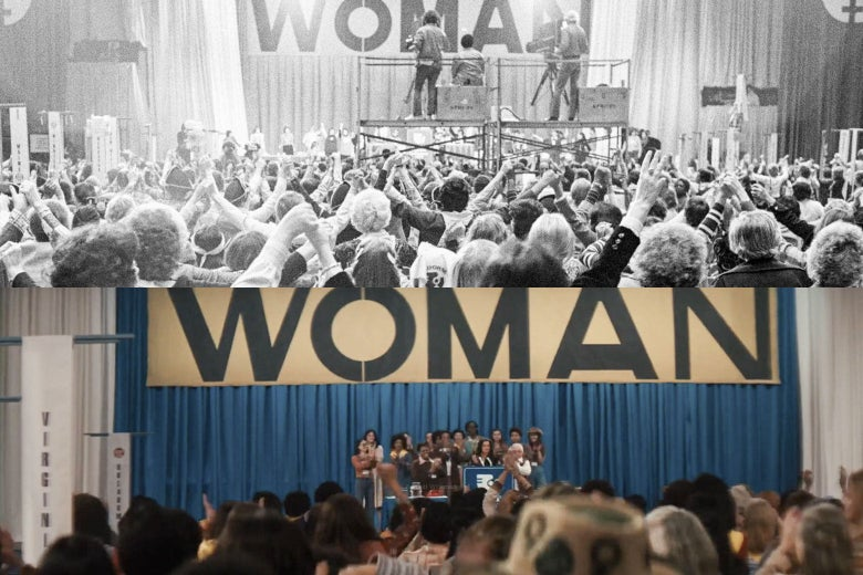 """The two stages match each other to a T, with the big banner on the stage in both reading simply """"Woman"""" in the same font."""