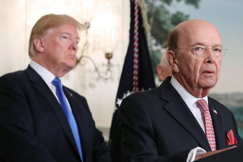 WASHINGTON, DC - MARCH 22: Commerce Secretary Wilbur Ross (R) speaks before U.S. President Donald Trump signed a presidential memorandum aimed at what he calls Chinese economic aggression in the Roosevelt Room at the White House on March 22, 2018 in Washington, DC.  (Photo by Mark Wilson/Getty Images)