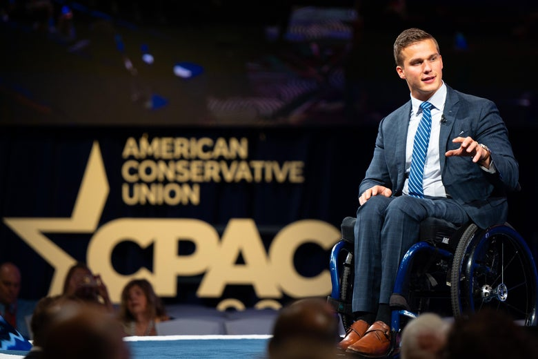 U.S. Rep. Madison Cawthorn onttage speaking to a crowd at the Conservative Political Action Conference in July.