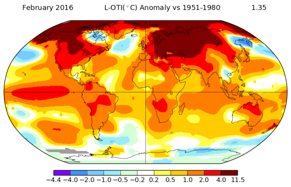 NASA confirms February 2016's shocking global warming temperature record.