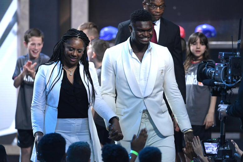 NEW YORK, NEW YORK - JUNE 20: NBA Prospect Zion Williamson is introduced before the start of the 2019 NBA Draft at the Barclays Center on June 20, 2019 in the Brooklyn borough of New York City. NOTE TO USER: User expressly acknowledges and agrees that, by downloading and or using this photograph, User is consenting to the terms and conditions of the Getty Images License Agreement. (Photo by Sarah Stier/Getty Images)