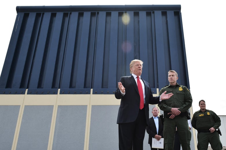 President Trump speaks during an inspection of border wall prototypes in San Diego, California on March 13, 2018.