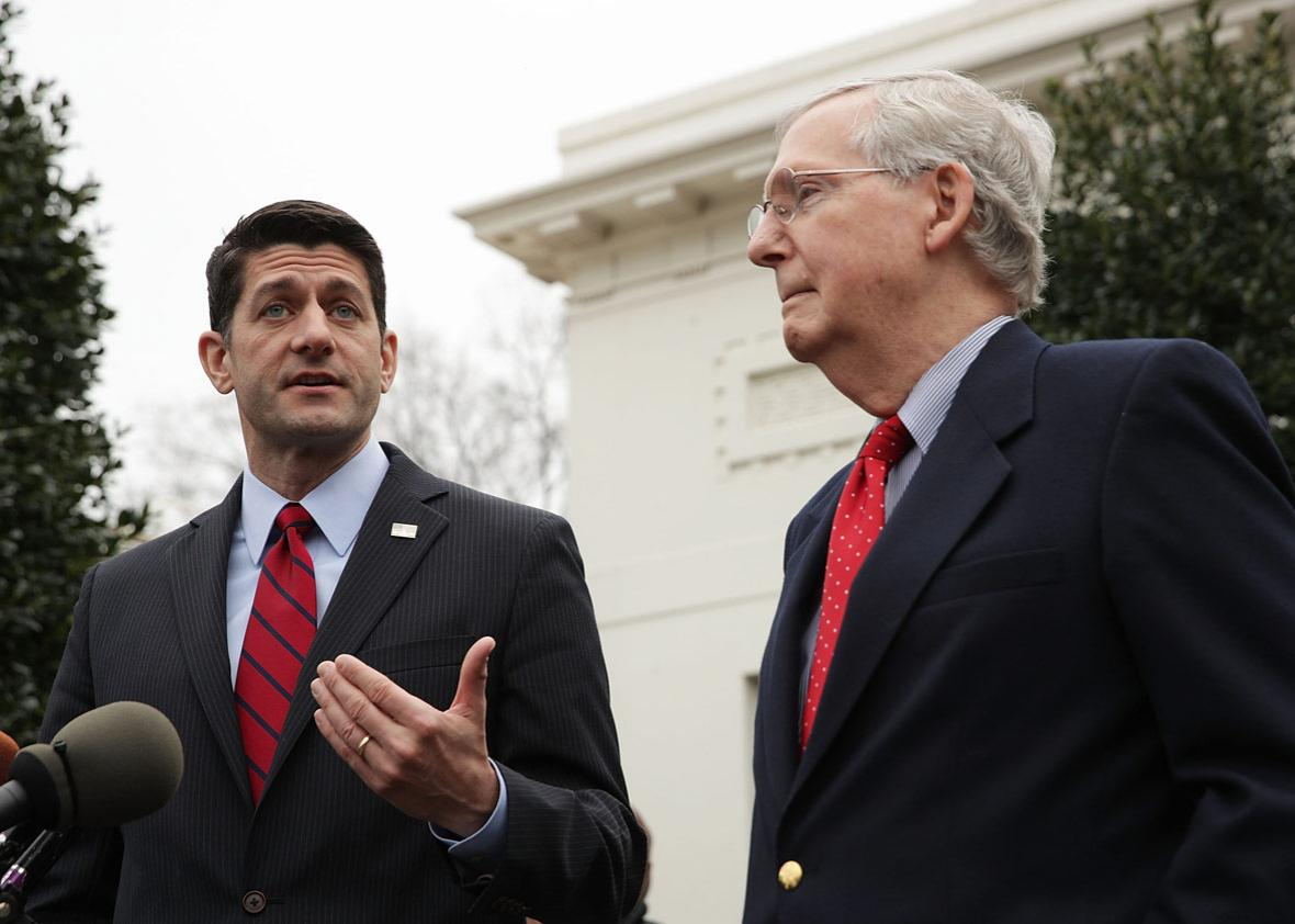 U.S. Speaker of the House Rep. Paul Ryan (R-WI) (L) and Senate Majority Leader Sen. Mitch McConnell (R-KY) (R)