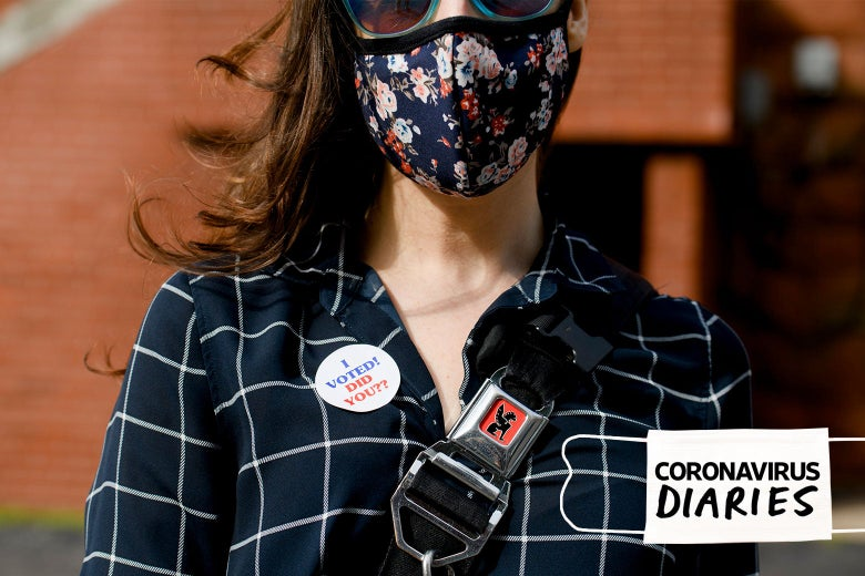 A voter in a mask with an I Voted sticker.