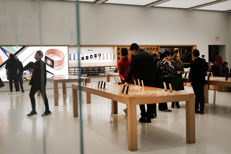 Customers inside an Apple Store.