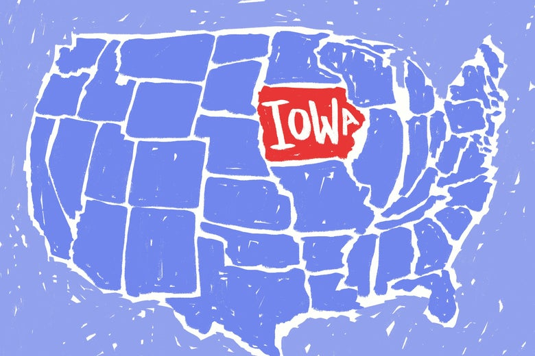 Map of the United States with Iowa appearing excessively large.