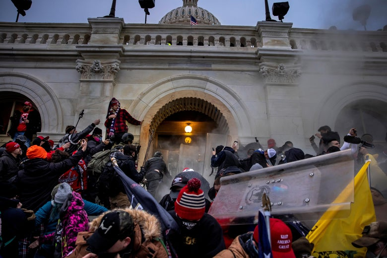 Trump supporters clash with police and security forces as people storm the Capitol on January 6, 2021 in Washington, D.C.
