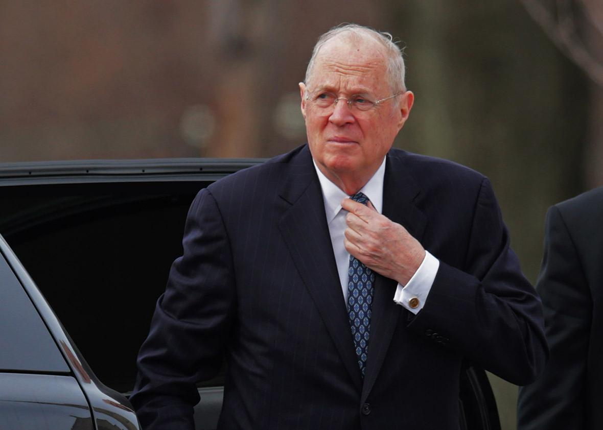 U.S. Supreme Court Associate Justice Anthony Kennedy arrives for the funeral of fellow Associate Justice Antonin Scalia at the the Basilica of the National Shrine of the Immaculate Conception February 20, 2016 in Washington, DC.