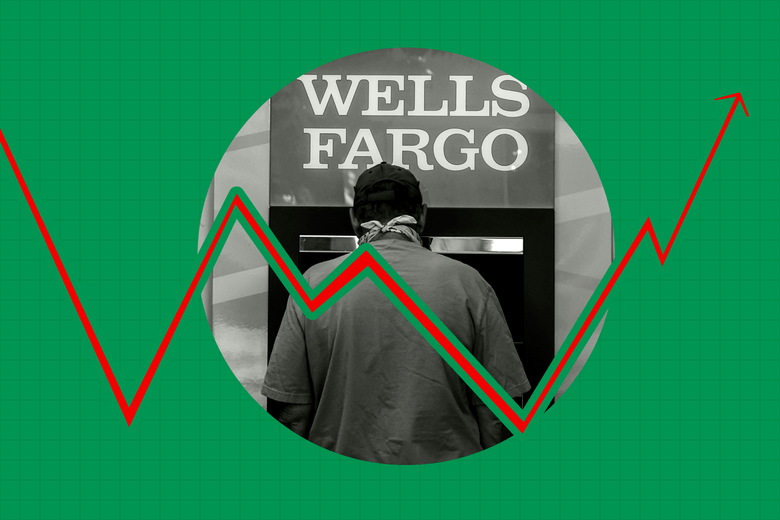 Man standing at a Wells Fargo ATM.