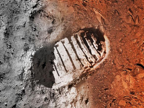 Moon and Mars bootprint