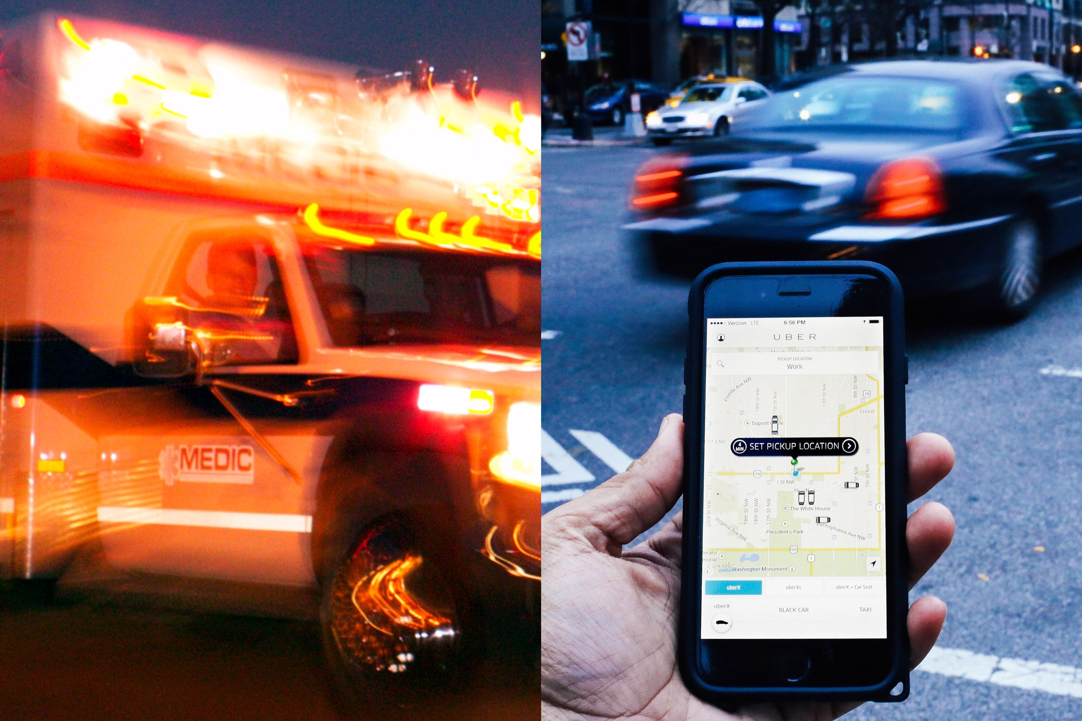 At left, an ambulance. At right, a hand holds a phone with an open Uber app.