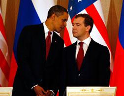 President Barack Obama and Russian President Dmitry Medvedev. Click image to expand.