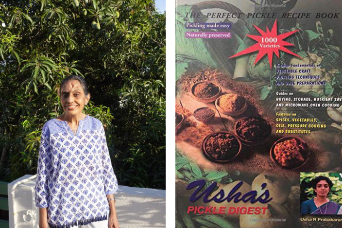 On the left, author Usha Prabhakaran stands outside and smiles toward the camera. On the right, the cover of Usha's Pickle Digest, which shows an array of spices and vegetables.