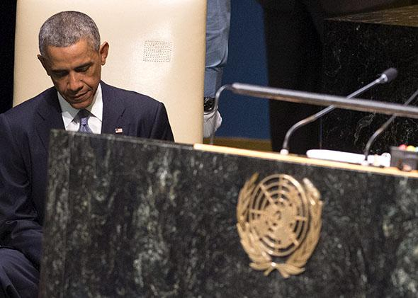 President Obama sits after speaking during the 69th Session of the UN General Assembly at the United Nations.
