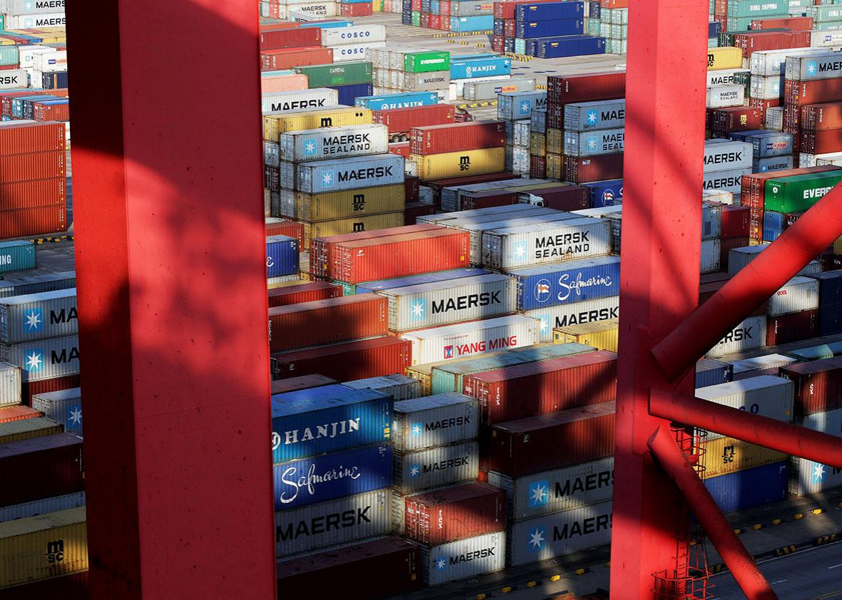 Containers are seen at the Yangshan Deep Water Port, part of the Shanghai Free Trade Zone, in Shanghai, China, September 24, 2016.