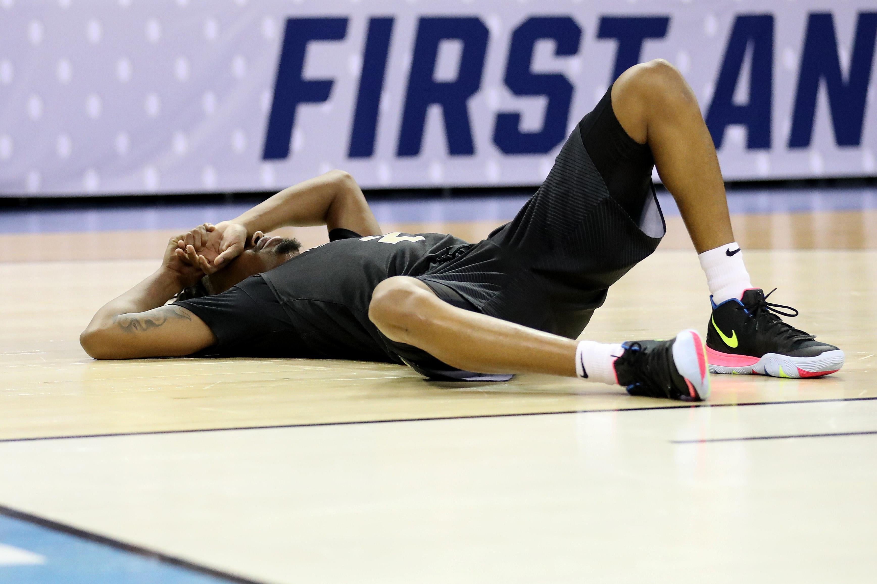 COLUMBIA, SOUTH CAROLINA - MARCH 24: Terrell Allen #2 of the UCF Knights reacts after being defeated by Duke Blue Devils in the second round game of the 2019 NCAA Men's Basketball Tournament at Colonial Life Arena on March 24, 2019 in Columbia, South Carolina. (Photo by Streeter Lecka/Getty Images)