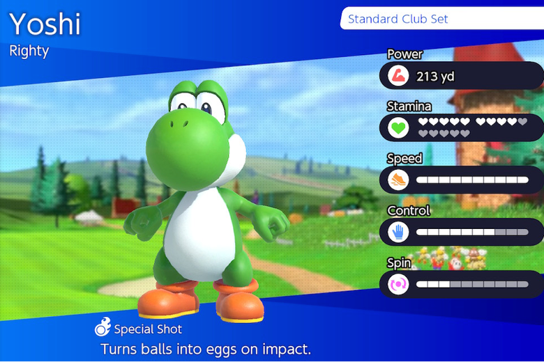 Yoshi character selection screen.