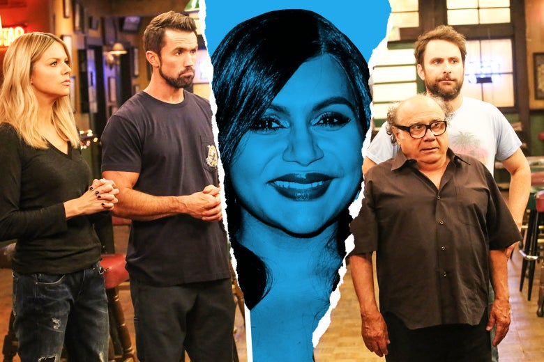 Mindy Kaling in the middle of the Gang (Kaitlin Olson as Dee, Rob McElhenney as Mac, Danny DeVito as Frank, Charlie Day as Charlie).