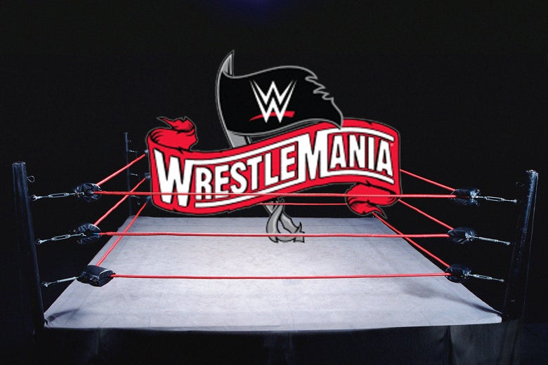 A ring with the WrestleMania logo over it.